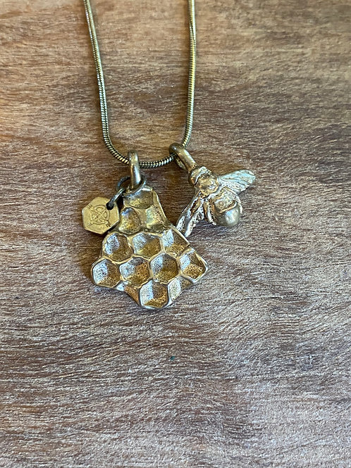 GOLD BEE AND HONEY COMB COMBO NECKLACE