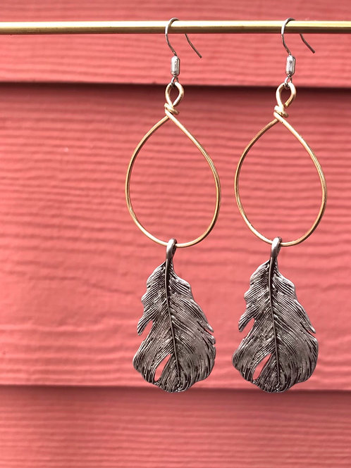 Sale-Brass Feather Hoops