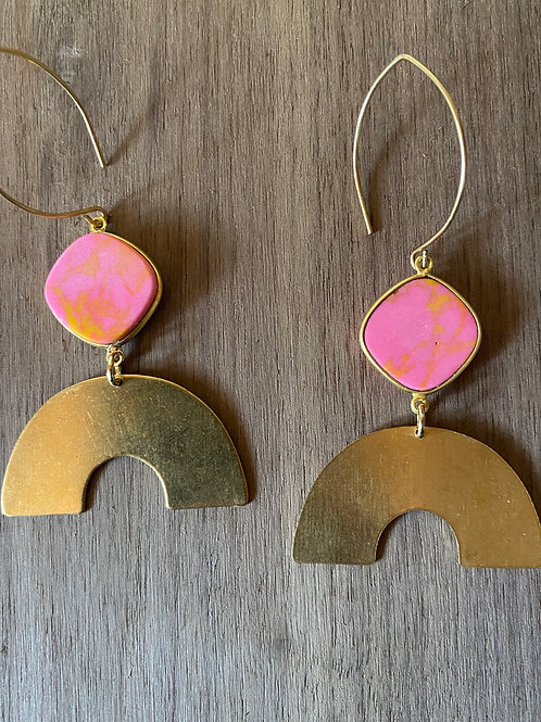 Pink Jasper and Rainbow Earrings