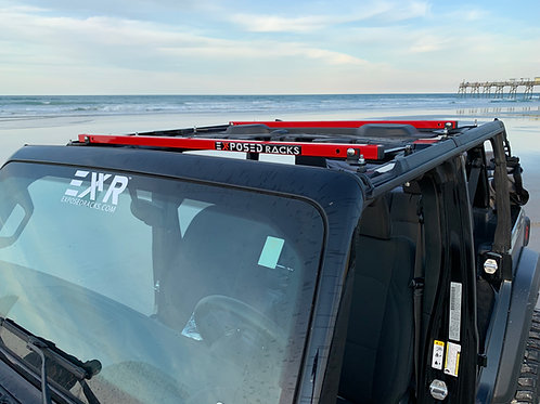 UNDER Soft Top Red Click-In Roof Racks 2018-2021 Jeep Wrangler JLU (4dr)