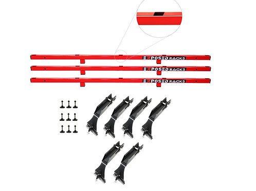 NO DRILL Red TENT CLICK-IN Roof Racks 2007-2018 Jeep Wrangler JKU (4dr) Hard Top