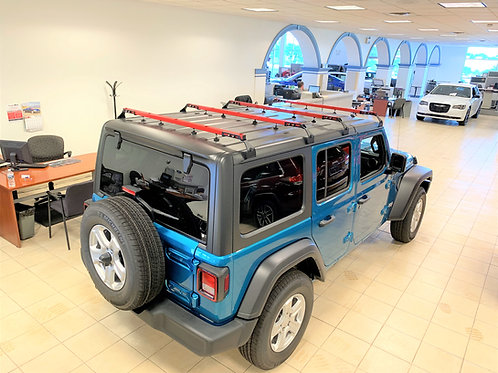 NO DRILL Red Click-In TENT Roof Racks (5 ppl) 2018-2021 Jeep Wrangler JLU (4dr)