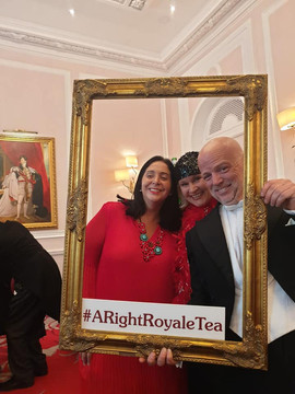 Lord and Lady Right with guest at the Amba Hotel