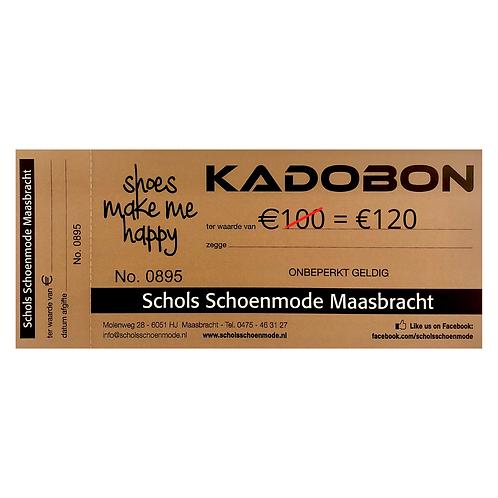 Cadeaubon €100 (U ontvangt tijdelijk een cadeaubon van €120)