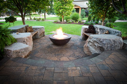 Concrete Fire Bowl with Boulder Seat