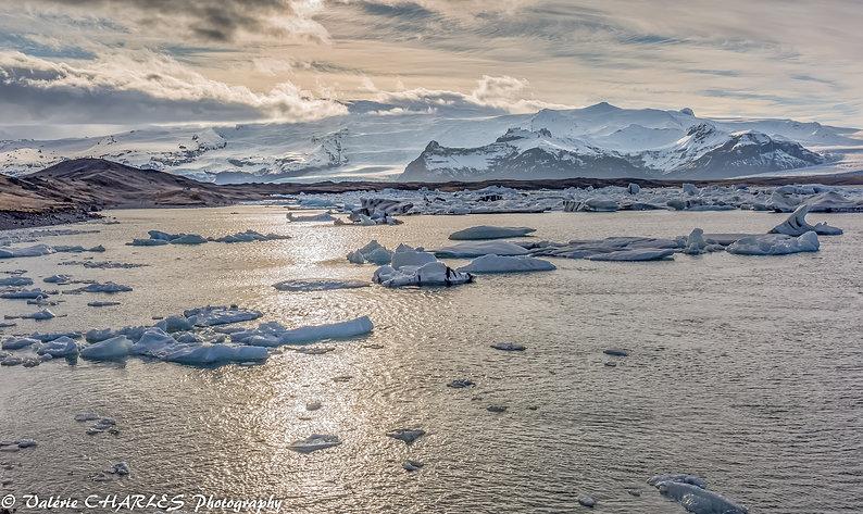 Coucher de soleil sur le lac jokulsarlon iceland