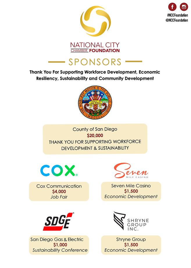 national city chamber foundation logo, county of san diego logo, cox communications logo, seven mile casino logo, sdge logo, shryne group inc logo