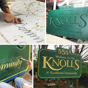 The Knolls Carved Sign