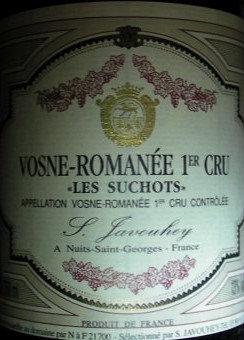 """Vosne-Romanée 1er Cru """"Les Suchots"""" 1999 S.JAVOUHEY Rouge"""