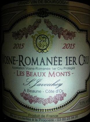 """Vosne-Romanée 1er Cru """"Les Beaux Monts"""" 2015 S.JAVOUHEY Rouge"""