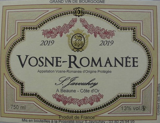 Vosne-Romanée 2019 S.JAVOUHEY Rouge