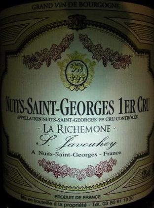 """Nuits-Saint-Georges 1er Cru """"La Richemone"""" 2016 S.JAVOUHEY Rouge"""
