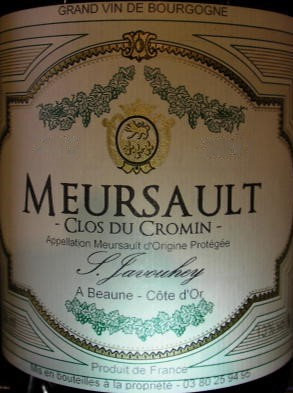 "Meursault ""Clos du Cromin"" 2015 S.JAVOUHEY Blanc"