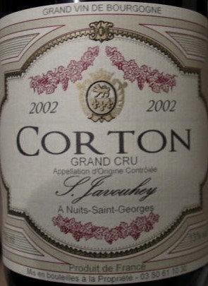 Corton Grand Cru 2002 S.JAVOUHEY Rouge