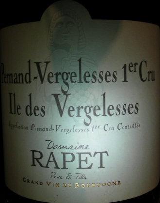 "Pernand-Vergelesses 1er Cru ""Ile des Vergelesses"" 2012 RAPET Rouge"