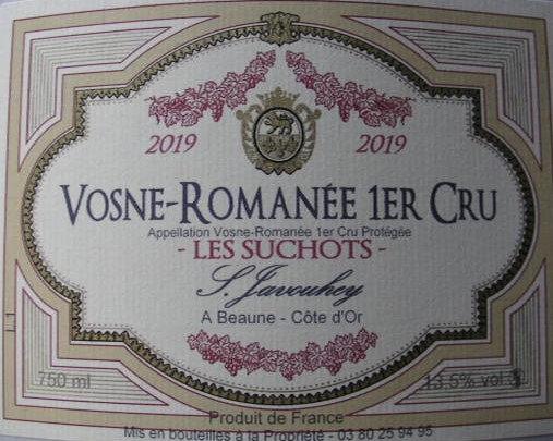 """Vosne-Romanée 1er Cru """"Les Suchots"""" 2019 S.JAVOUHEY Rouge"""