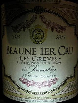 """Beaune 1er Cru """"Grèves"""" 2015 S.JAVOUHEY Rouge"""