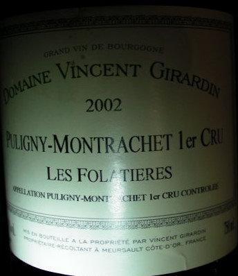 "Puligny-Montrachet 1er Cru ""Folatières"" 2002 GIRARDIN Blanc"