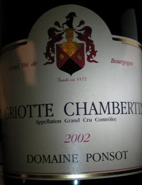 Griotte-Chambertin Grand Cru 2002 PONSOT Rouge