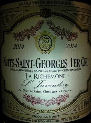 """Nuits-Saint-Georges 1er Cru """"La Richemone"""" 2014 S.JAVOUHEY Rouge"""
