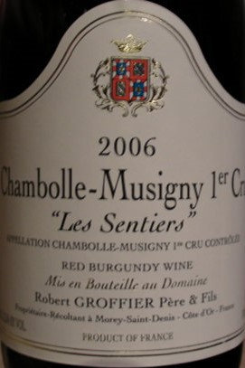 "Chambolle-Musigny 1er Cru ""Les Sentiers"" 2006 GROFFIER Rouge"