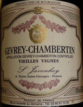 """Gevrey-Chambertin """"Vieilles Vignes"""" 2005 S.JAVOUHEY Rouge"""
