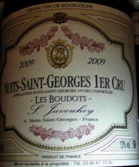 """Nuits-Saint-Georges 1er Cru """"Les Boudots"""" 2009 S.JAVOUHEY Rouge"""
