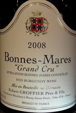 Bonnes Mares Grand Cru 2008 GROFFIER Rouge