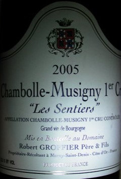 """Chambolle-Musigny 1er Cru """"Les Sentiers"""" 2005 GROFFIER Rouge"""