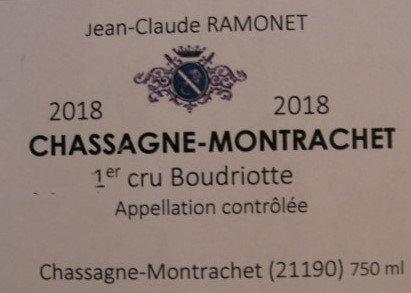"""Chassagne-Montrachet 1er Cru """"Boudriotte"""" 2018 RAMONET Blanc"""