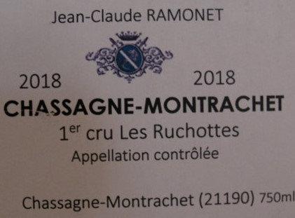 "Chassagne-Montrachet 1er Cru ""Ruchotte"" 2018 RAMONET Blanc"