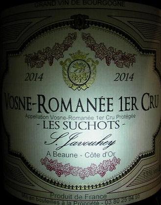 """Vosne-Romanée 1er Cru """"Les Suchots"""" 2014 S.JAVOUHEY Rouge"""