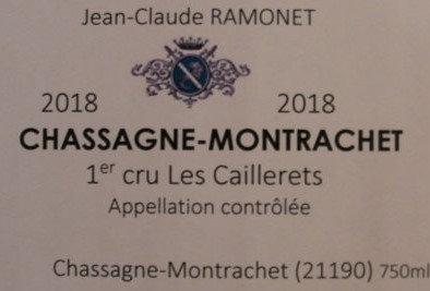 "Chassagne-Montrachet 1er Cru ""Caillerets"" 2018 RAMONET Blanc"