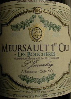 """Meursault 1er Cru """"Les Bouchères"""" 2015 S.JAVOUHEY Blanc"""