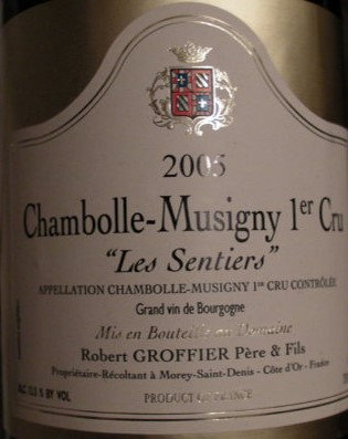"""Chambolle-Musigny 1er Cru """"Les Sentiers"""" Magnum 2005 GROFFIER Rouge"""