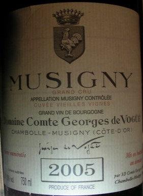 """Musigny Grand Cru """"Vieilles Vignes"""" 2005 Comte G. de VOGÜE Rouge"""