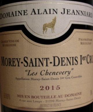 "Morey-Saint-Denis 1er Cru ""Les Chenevery"" 2015 Alain JEANNIARD Rouge"
