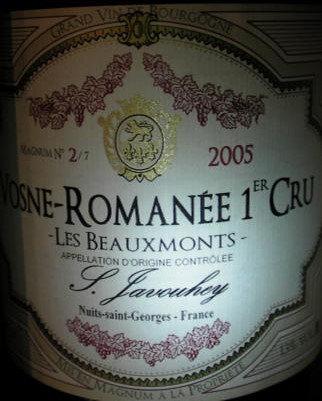 """Vosne-Romanée 1er Cru """"Les Beaux Monts"""" Magnum 2005 S.JAVOUHEY Rouge"""
