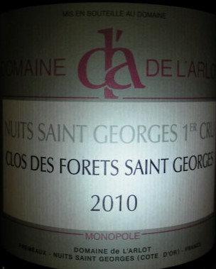"""Nuits-Saint-Georges 1er Cru """"Forets St-Georges"""" 2010 Dne de l'Arlot Rouge"""