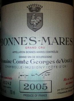 Bonnes Mares Grand Cru 2005 Comte G. de VOGÜE Rouge