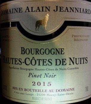 Hautes-Côtes de Nuits 2015 Alain JEANNIARD Rouge