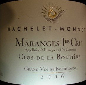 """Maranges 1er Cru """"Clos de la Boutière"""" 2016 BACHELET-MONNOT Rouge"""