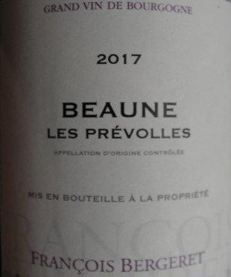 """Beaune """"Prévolles"""" 2017 BERGERET Rouge"""