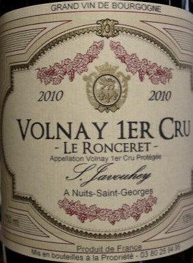 """Volnay 1er Cru """"Le Ronceret"""" 2010 S.JAVOUHEY Rouge"""