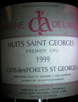 "Nuits-Saint-Georges 1er Cru ""Forêts St-Georges"" 1999 Dne de l'Arlot Rouge"