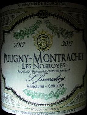 """Puligny-Montrachet """"Les Nosroyes"""" 2017 S.JAVOUHEY Blanc"""