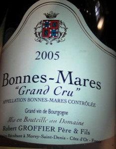 Bonnes Mares Grand Cru 2005 GROFFIER Rouge