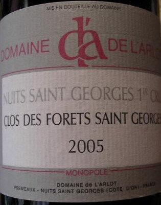 """Nuits-Saint-Georges 1er Cru """"Forets St-Georges"""" 2005 Dne de l'Arlot Rouge"""