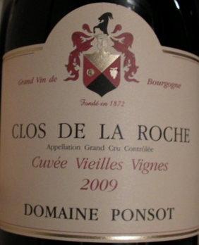 "Clos de la Roche Grand Cru ""Vieilles Vignes"" 2009 PONSOT Rouge"