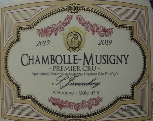Chambolle-Musigny 1er Cru 2019 S.JAVOUHEY Rouge